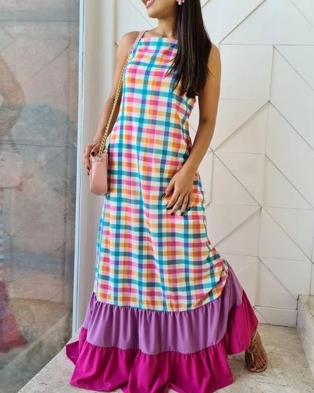 Plaid Colorblock Rufles Tank Dress