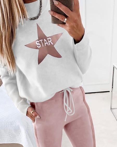 Star Print Long Sleeve Top & Drawstring Waist Pants Set
