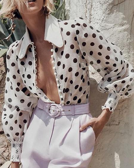 Polka Dot Print Lantern Sleeve Shirt