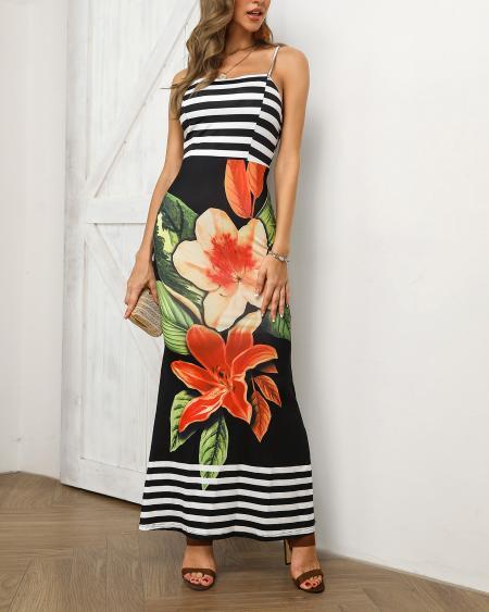 boutiquefeel / Floral and Striped Splicing Spaghetti Strap Dress