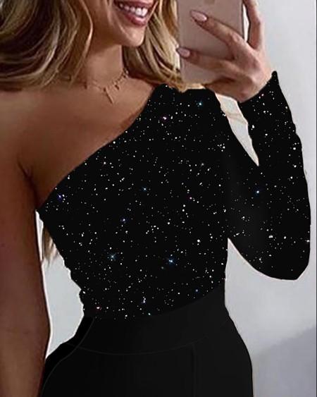 Glitter Skew Neck Long Sleeve Jumpsuit