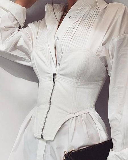 Button Zip Front Mini Dress
