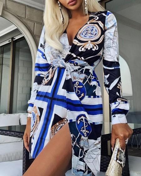 Scarf Print Twisted Design Slit Dress