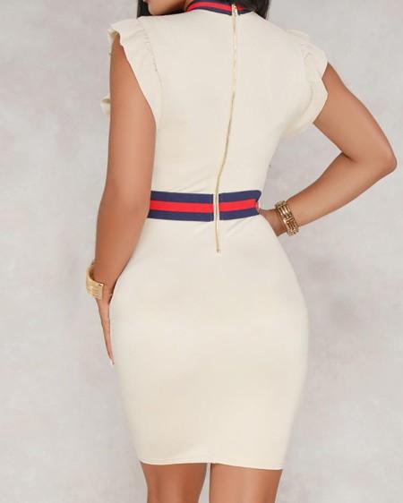 Frilled Striped Patchwork Tie Neck Sheath Dress