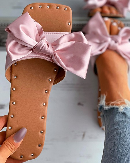 Satin Bowknot Decor Square Toe Flat Sandals