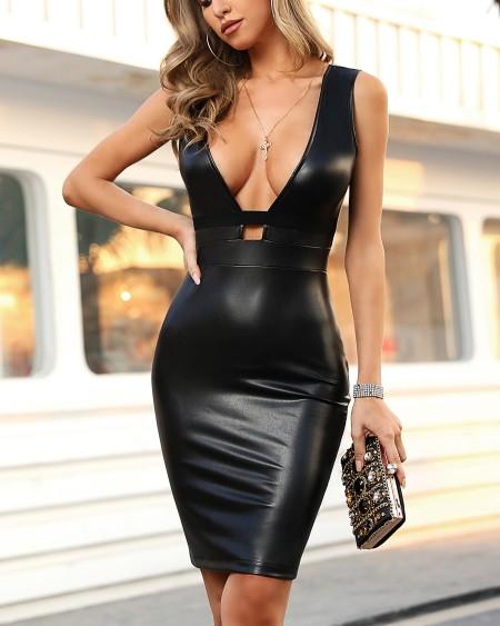 Solid PU Deep V Sleeveless Dress
