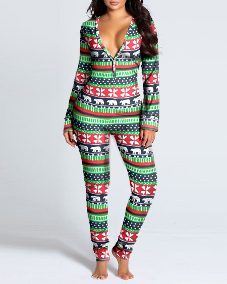 Christmas Animal Print Functional Buttoned Flap Adults Pajamas