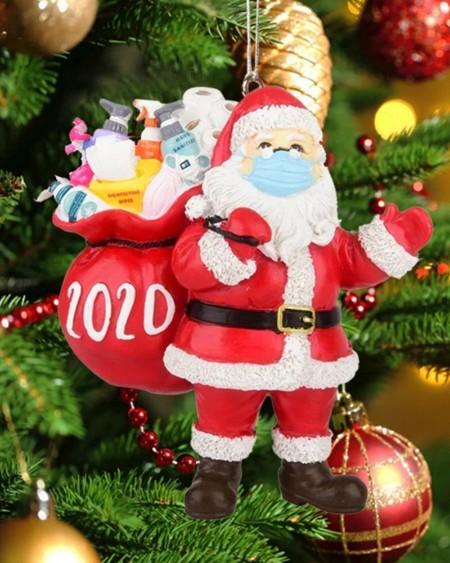 2020 Christmas Tree Santa Wearing Mask Ornament