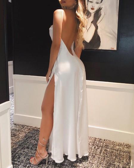 Spaghetti Strap High Slit Open Back Maxi Dress