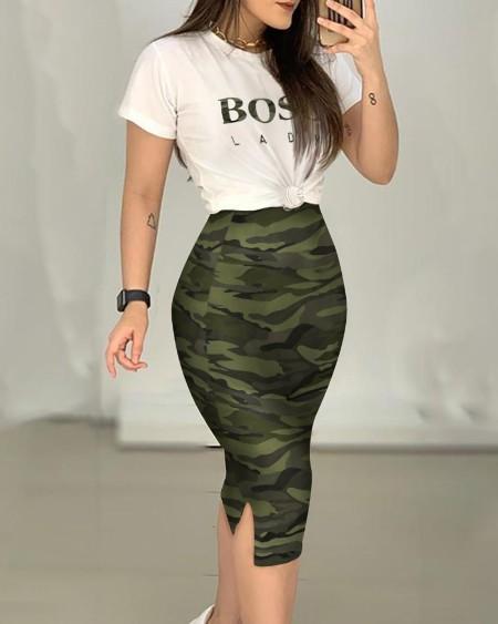 Round Neck T-Shirt & Camouflage Print Skirt Set