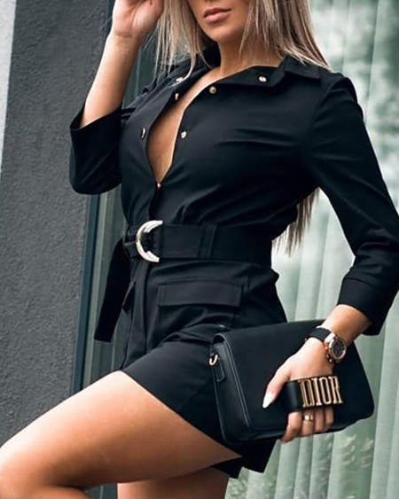 Solid Long Sleeve Dual Pocket Romper