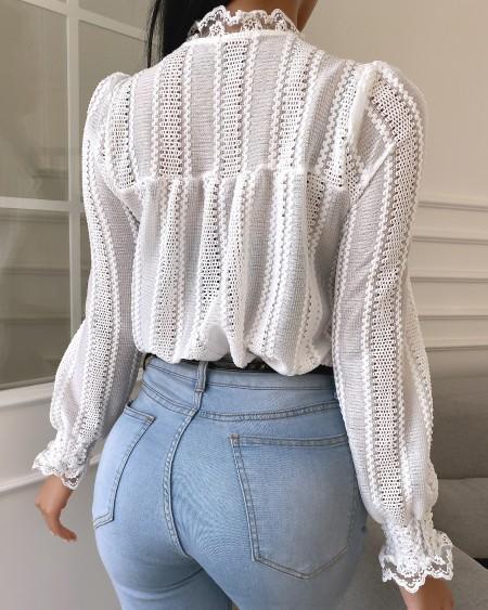 Plain Lace Trim Long Sleeve Shirt