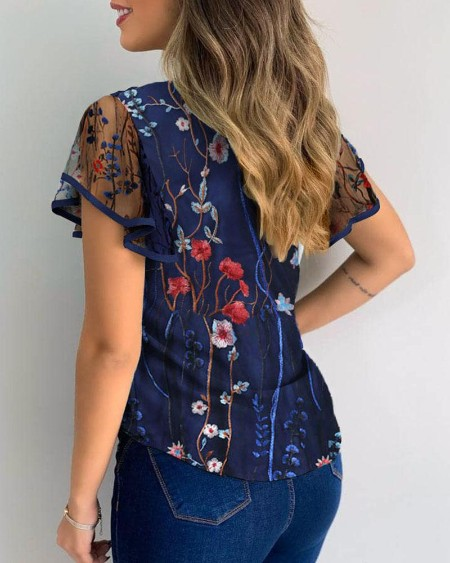 Floral Embroidery Sheer Mesh Flutter Sleeve Cutout Casual Blouse