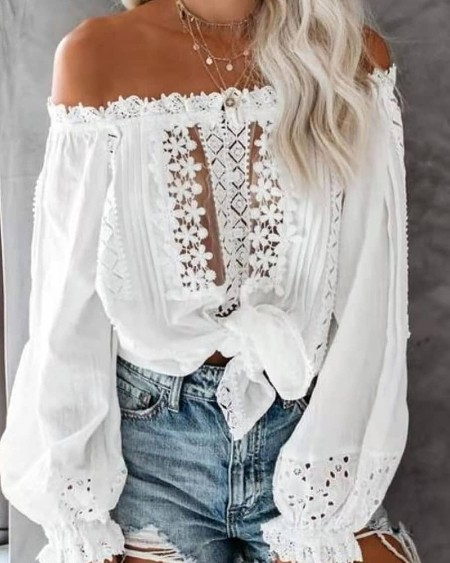 Off Shoulder Plain Lace Contrast Blouse