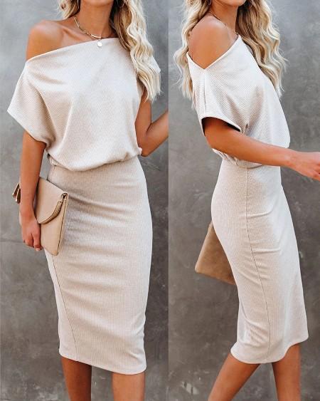 Cold Shoulder Plain Half Sleeve Pencil Dress