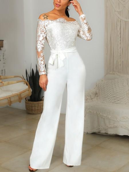Off Shoulder Belted Lace Bodice Jumpsuit