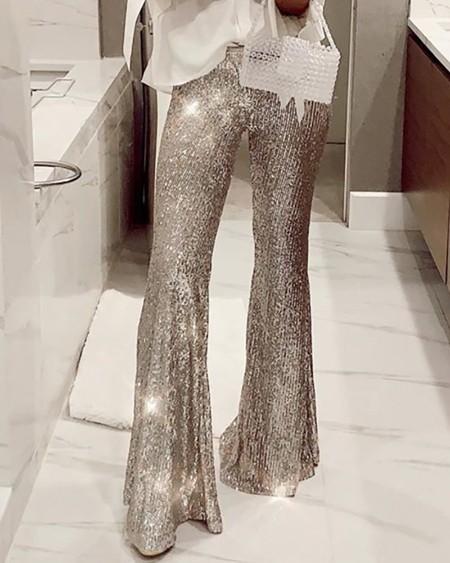 Glitter High Waist Bell-bottomed Sequins Pants