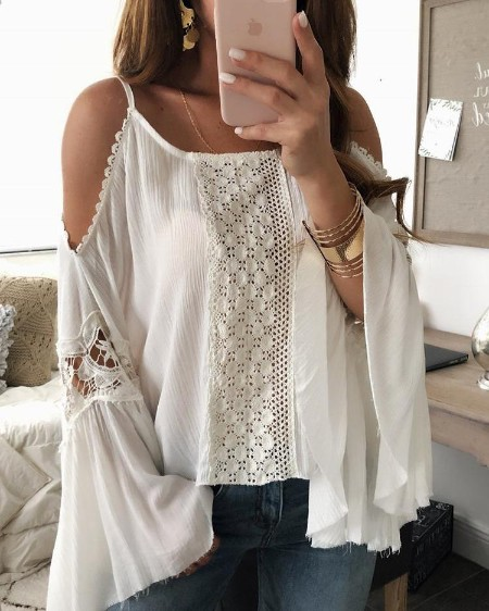 boutiquefeel / Flared Sleeve Crochet Lace Splicing Blouse