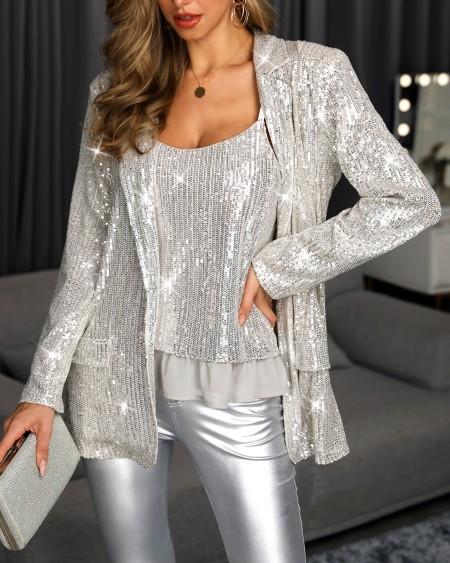 Sequin Vest Top & Blazer Set