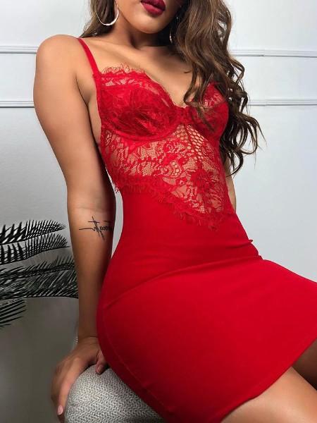 Spaghetti Strap Eyelash Lace Insert Dress