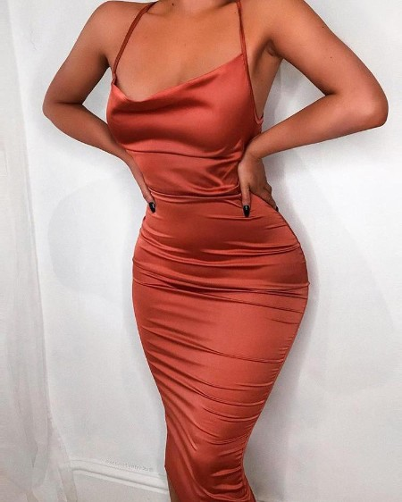 Drape Neck Ruched Slinky Party Dress