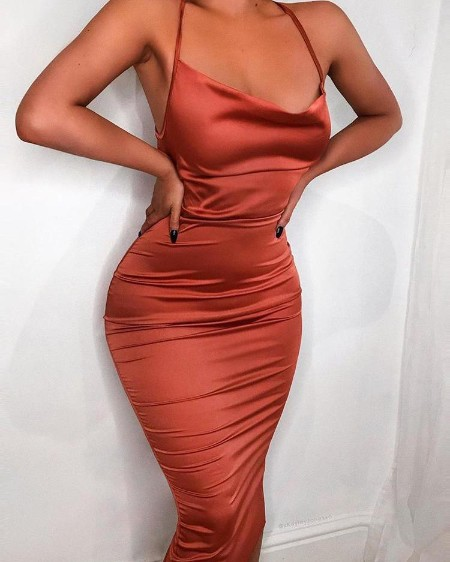 Drape Neck Ruched Slinky Party Dress