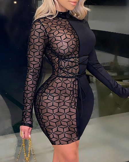 Studded Sheer Mesh Long Sleeve Bodycon Dress