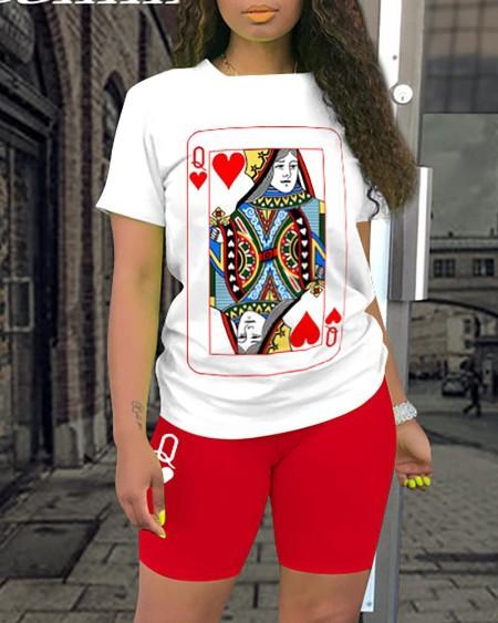 Poker Print Short Sleeve Top & Shorts Set