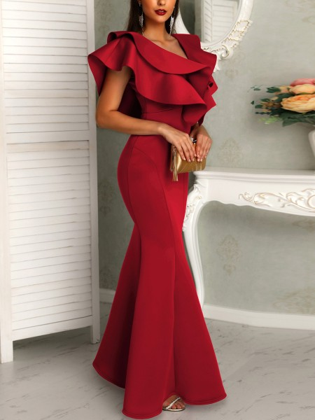 Deep V Layered Ruffles Fishtail Evening Dress