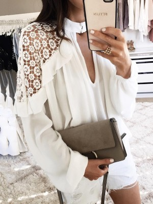 Sexy Hollow Out Crochet Pleated Blouse