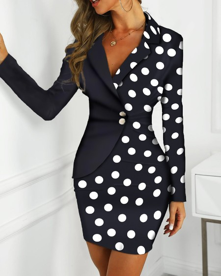 Dot Print Colorblock Insert Blazer Dress