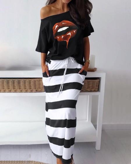 Lip Print T-Shirt & Striped Skirt Set