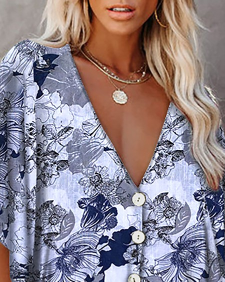 Floral Print Button Front Batwing Sleeve Top