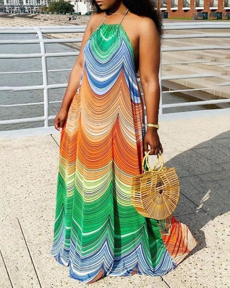 Colorblock Halter Sleeveless Maxi Dress