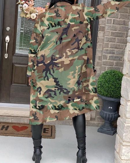Camouflage Pocket Design Longline Coat
