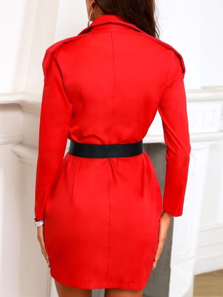 Deep V-Neck Irregular Blazer Dress