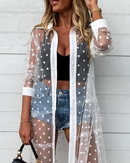Mesh Button Design Polka Dot Print Half Sleeve Shirt Dress