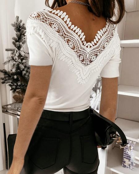 Contrast Lace V-Neck Short Sleeve T-Shirt