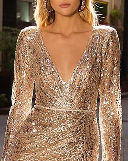 Plunge Slit Sequins Sparkly Party Dress