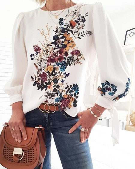 Lovely Bouquet Long Sleeve Topp