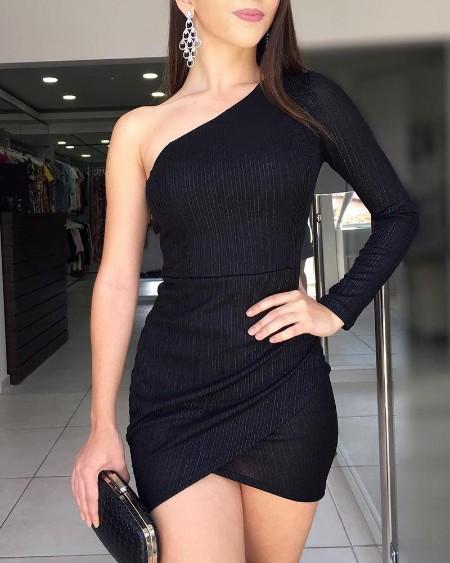 One Shoulder Irregular Bodycon Dress