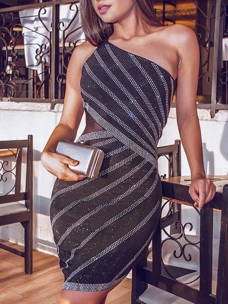 Hot Drilling Sheer Mesh Party Dress
