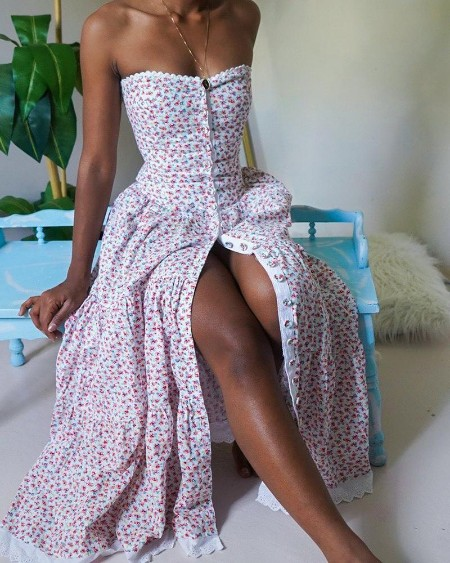Floral Print Bandeau Lace Trim Buttoned Maxi Dress