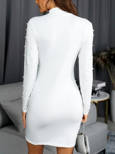 Beading Embellished Long Sleeve Bodycon Dress