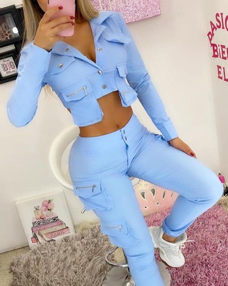 Plain Buttoned Crop Top & High Waist Cargo Pants Set