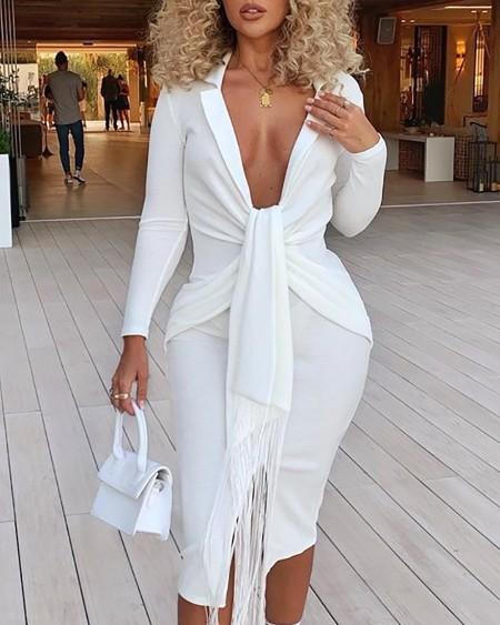 Plunging Tassel Twisted Design Dress