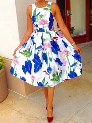 Floral Print Cutout Waist Casual Dress