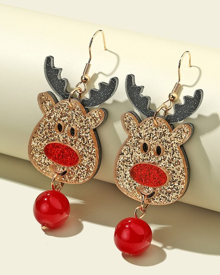 Christmas Moose Pattern Drop Earring