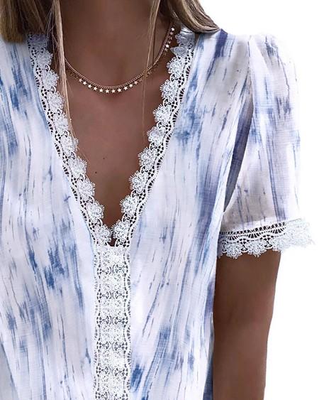 Eyelash Lace Trim Tie Dye Print Casual Top