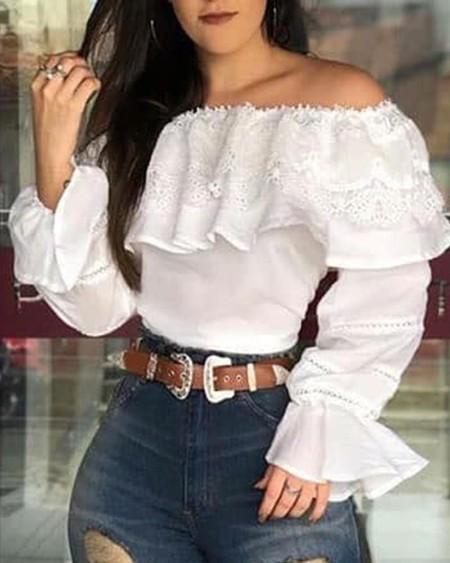 Stitching Lace Ruffle Flared Sleeve Blouse